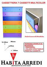 Cassettiera 7 Cassetti Multicolor Assemblata Personalizzabile su Richiesta