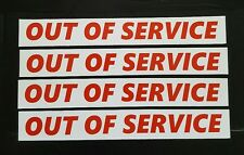 """Set of 4 OUT OF SERVICE MAGNETIC SIGNS 1.5"""" x 12"""""""