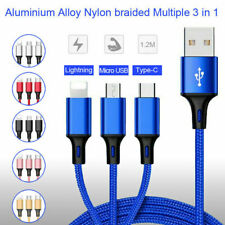 3 in 1 Cable Multi USB Phone Charger Charging Braided Cable For iPhone Android