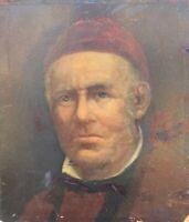 Portrait Mann mit roter Mütze Studie Skizze Ölbild Anonym 32 x 28 cm M. Bardi