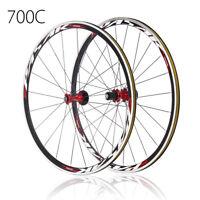 PASAK 700C Ultra Light Road Bike Wheel Front Rear Wheelset Aluminum Rim Deep C/V