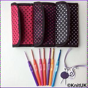 KnitUK Crochet Hook Set of 7. Free crochet hook bag: choose bag colour