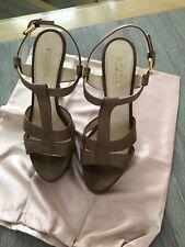 Authentic Prada Ladies Taupe Heels Sandals Size 5.5 Or 38.5