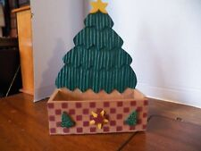 VINTAGE Tree Painted Wood CHRISTMAS CARD HOLDER CADDY PLANT CONTAINER