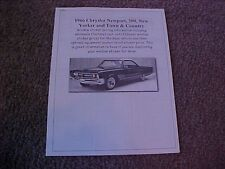 1966 Chrysler big-car factory cost/dealer sticker prices for car & options $