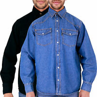 MENS AZTEC BRANDED DENIM SHIRTS STONEWASH & BLACK S M L XL 2XL 3XL 4XL 5XL 6XL