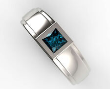 14 K Solid White Gold Natural Gem Stone Blue Topaz Ring Men's Jewelry Us Size 7