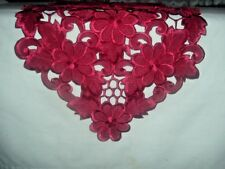 Red Cutwork Table Runner - Christmas or Valentines Day - FS