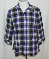 Alia, 10P, Purple Plaid Button Front Top, New without Tags