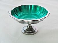 Wm. A. Rogers Silverplate & Green Enamel Vtg. Pedestal Compote Candy Dish Bowl