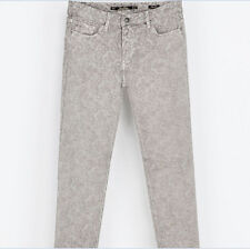 NWT ZARA Womens Five-Pocket Skinny Trousers Pants Grey Printed Sz 6