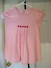 GYMBOREE GIRLS PINK SHORT SLEEVE COTTON BLEND  DRESS WITH APPLE DESIGN SIZE 7