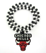 "WOODEN CHICAGO BULLS NBA PENDANT PIECE 36"" CHAIN BEAD NECKLACE GOOD WOOD JORDAN"