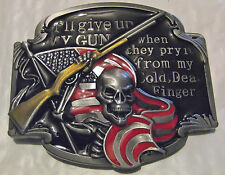 USA FLAG, SKULL, GUN, BELT BUCKLE - I'LL GIVE UP MY GUN WHEN THEY PRY IT FROM MY