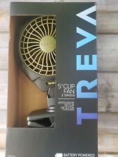 Treva 5 Inch Battery Powered Clip Slim Portable Cooling Fan w/ Clamp for Travel