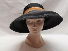 Plaza Suite Wide Brim Hat Black Spiral Straw Beige Brown Band Bow Betmar Medium