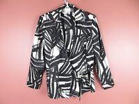 TB03945- NEW CHICO'S Woman 100% Silk Wrap Blouse Classy Black White Geo Sz 2 M L