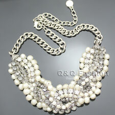 Bridal Silver Love Knot Braided Pearl Chain Crystal Collar Choker Bib Necklace
