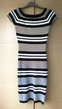 SMART, BLACK & WHITE STRIPED RIBBED DRESS BY LUNYC - LARGE (ABOUT UK 8-10) - VGC