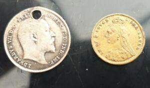 Queen Victoria 1887 Toy Sovereign & Edward VII Silver 1909 3d Coin
