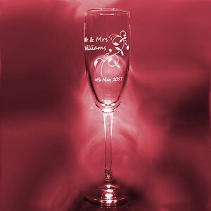 Personalised Engraved Champagne Glass Flute Wedding Valentine Brides Maid Gift