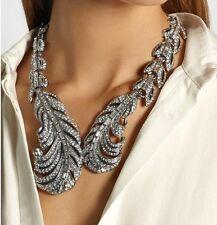 Zara elegante Piuma Foglie frizzante Strass Collana Matrimonio Nuovo