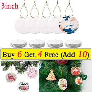 "1x Sublimation Blank Ornament White Ceramic 3"" DIY Personalized Xmas Home Decor"