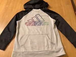 Adidas Boys Hooded Pullover Lightweight Sweatshirt, Size M 10/12, Gray/Black