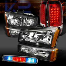 03-06 Silverado Black Head Bumper Lights+Red LED Tail Lamps+Clear 3rd Brake