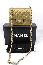 CHANEL Quilted Bronze Sac Rabat Khaki Gold Leather Flap Mini Small Bag New