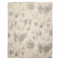 8' x 10' Hand Knotted Tibetan Wool Floral Transitional Area Rug Oatmeal Gray