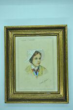 Peinture signée A ANDRE REYMOND portrait coiffe Savoyarde de Foncouverte Savoie