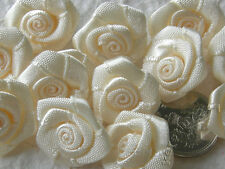 100! Large Satin Ribbon Roses - 20mm - Gorgeous Cream Rose Embellishments!