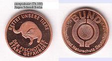 Fischotter Cu-Medaille 18 mm stampsdealer