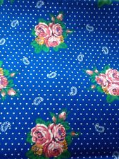 Vintage Springs Industries Cinderella Fabric Blue Roses Polka Dots 5 YDS Cottage