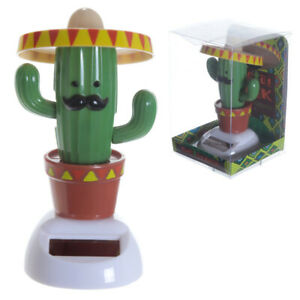 Dancing Novelty solar powered pal moving cactus wearing sombrero hat ornament