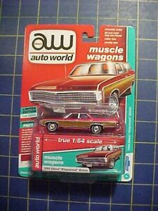 1/64 AUTO WORLD ULTRA RED 1969 CHEVY KINGSWOOD ESTATE WAGON! CHASE LE  NIP