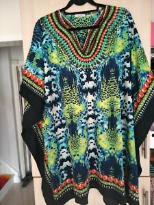Ladies v neck green yellow navy beaded lovely tunic/top size 16/22 new{one size}