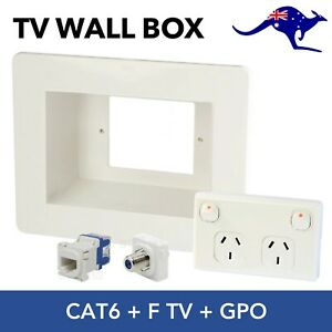 Recessed Power Point Wall Box Plate + Double Power Point + CAT6 & F TV Inserts