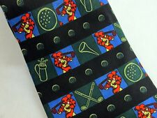 Tigger Golf Tie Disney Winnie the Pooh Golfing Necktie Novelty Black Green Blue