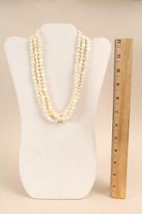 Authentic Triple Strand Natural Baroque Pearls & 14k Gold Clasp Necklace NR
