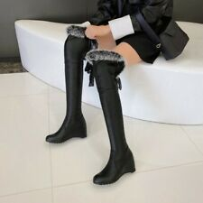 Womens Over Knee High Boots Fur Trim Wedge Hidden Heel Party Winter Warm Shoes