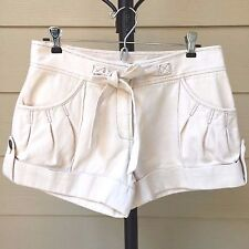 DIANE VON FURSTENBERG Sz 4 Pearl Casual Shorts Cream Cotton Pleats Folded Cuffs
