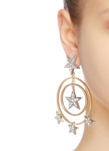 Kenneth Jay Lane KJL Star & Circular Drop Pierced Earrings NWT