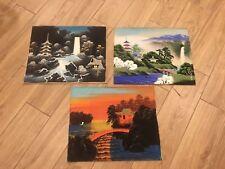 "Rare Vintage Mid-Century Asian Japanese Painted Landscape Silk Art 17"" x 14"" x 3"