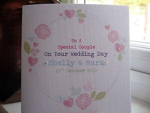 Handmade Personalised Wedding Day Card Floral Wreath