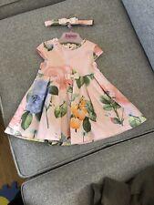 LOVELY TED BAKER BABY GIRL BNWT PLUM FLORAL BIRD PLEATED HEM PARTY DRESS 3-6m