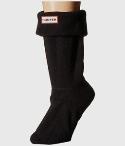 $61 Hunter Women's Black Thermal Logo Boot-Shaped 1-Pair Short Socks Size L