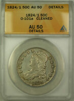 1824/1 O-101a Capped Bust Silver Half Dollar 50c Coin ANACS AU-50 Details