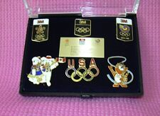 3M Olympic Limited Edition 6 Pin Set Lapel 1988 Case Bear Cat Calgary Seoul